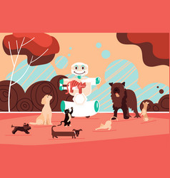robot assistant dog sitter walking happy pets vector image