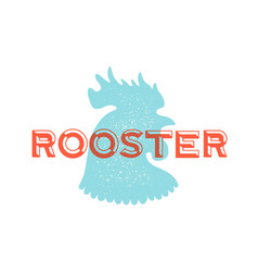 Rooster poultry vintage logo retro print vector