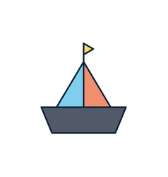 sailing boat summer icon line and fill vector image