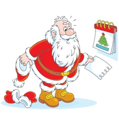 Santa Claus and a tear-off calendar vector image