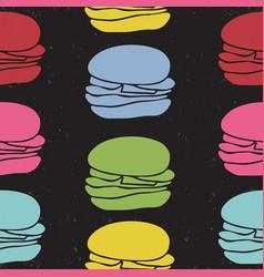 Seamless pattern fast food burgers vector