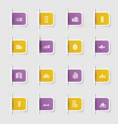 set a collection unique paper stickers icon vector image