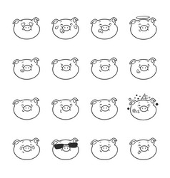 Set of emoticon icons emoji pigs for coloring vector
