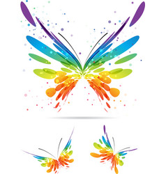 set of multicolored butterflies vector image