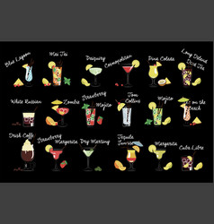 Set various drinks alcoholic beverages vector