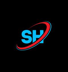 sh s h letter logo design initial letter sh vector image