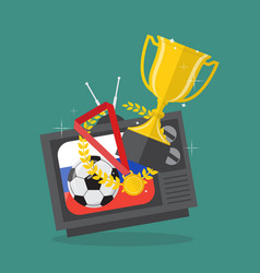 Soccer ball and awards on television with russia vector