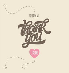 thank you for following me image with calligraphy vector image