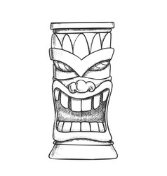 Tiki idol carved wooden totem monochrome vector