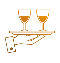 tray with wine cups vector image
