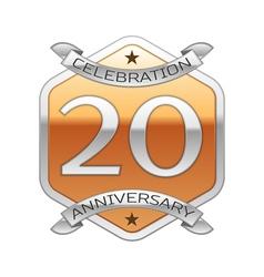 Twenty years anniversary celebration silver logo vector image