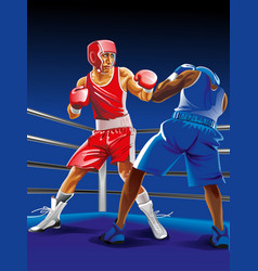 two boxers fighting on ring one is punching vector image