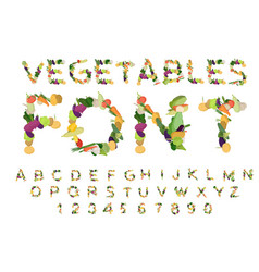 vegetarian font alphabet of vegetables edible vector image