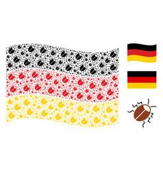 Waving german flag pattern of bug items vector