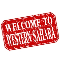 Welcome to Western Sahara red square grunge stamp vector