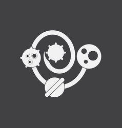 White icon on black background solar system vector