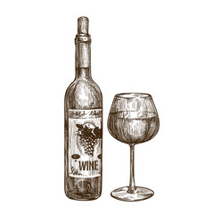 Wine bottle and glass alcoholic drink vintage vector