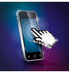 With shiny touchscreen mobilephone vector