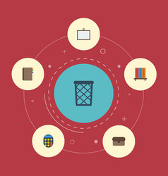flat icons bookshop whiteboard trash basket and vector image vector image