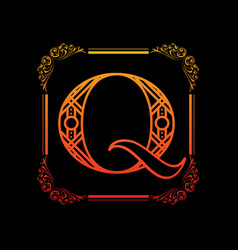 letter q with ornament vector image vector image
