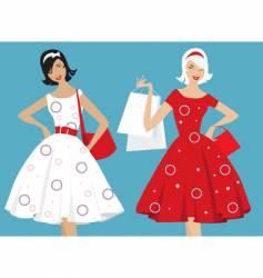 retro girls shopping vector image