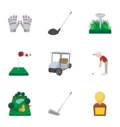 Sport golf icons set cartoon style vector image