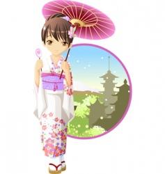 summer kimono girl vector image vector image