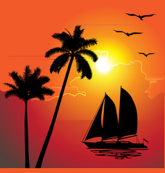 tropical evening sunset palm trees boat vector image vector image