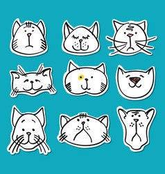 cute doodle cats stickers collection vector image vector image