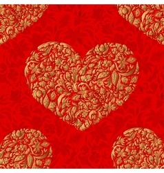 Fine seamless pattern with ornate hearts vector image vector image