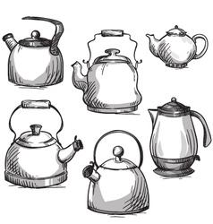 Set of kettles vector image