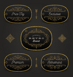set of price tag or brand label with glitter gold vector image vector image