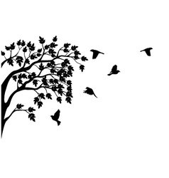 silhouette of tree and bird isolated vector image vector image