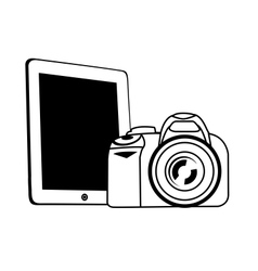 tablet and camera white vector image vector image