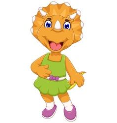 funny female dinosaur cartoon posing vector image vector image