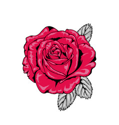 tattoo style red rose with black outlines v1 vector image
