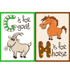 Children Alphabet with Funny Animals Goat and vector image vector image