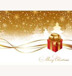 christmas landscape and gift box vector image vector image