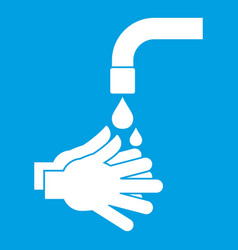 Cleaning hands icon white vector