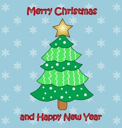 colorful Christmas tree on blue background vector image
