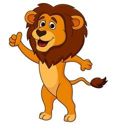 Cute lion cartoon thumb up vector image vector image