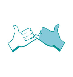 drawing hands with pinky promise gesture icon vector image