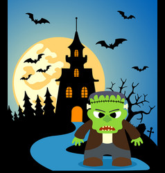 halloween background with frankenstein and full vector image vector image