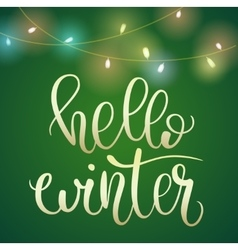 Phrase Hello Winter on green Christmas backround vector image