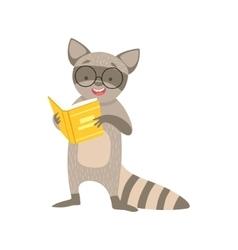 Raccoon smiling bookworm zoo character wearing vector
