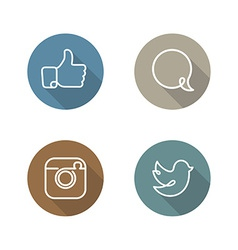 Social network icons and stickers set vector image