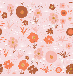 Abstract stylized flowers seamless doodle vector