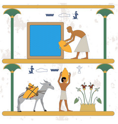 Ancient egypt background man taking water from a vector