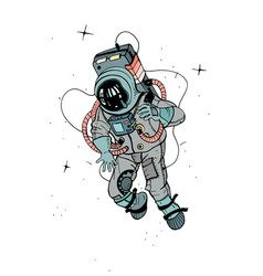astronaut in spacesuit cosmonaut in space on the vector image