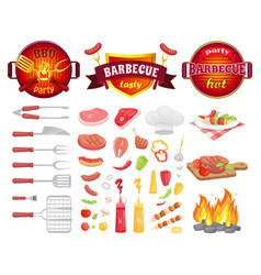 Bbq party dishware vegetables vector